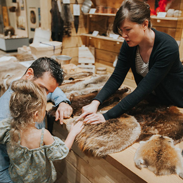 A little girl, her father and the museum manager touch a pelt.