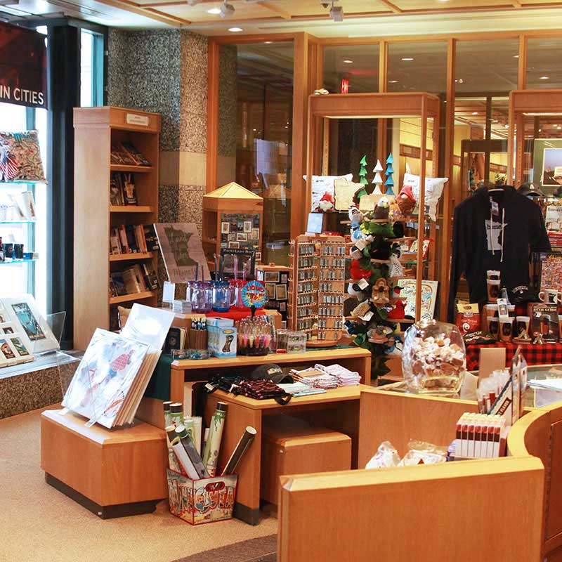 Posters, t-shirts, keychains, and gifts on display in the Minnesota History Center gift shop.