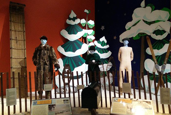A display of mannequins with winter attire typical of Minnesota winters.