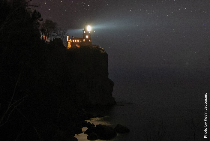 Split Rock Lighthouse at night.